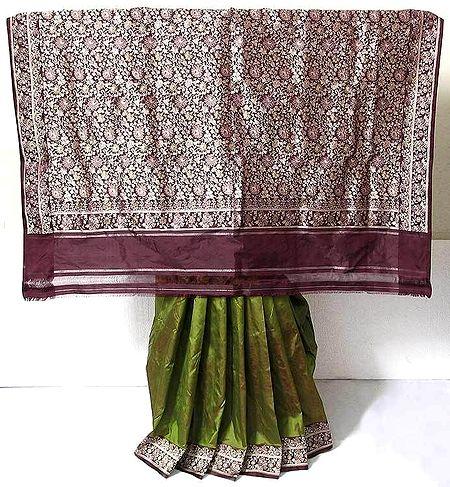 Olive Green and Maroon Combination Katan Banaras Silk Saree with Maroon Border and Pallu with Heavy Threadwork