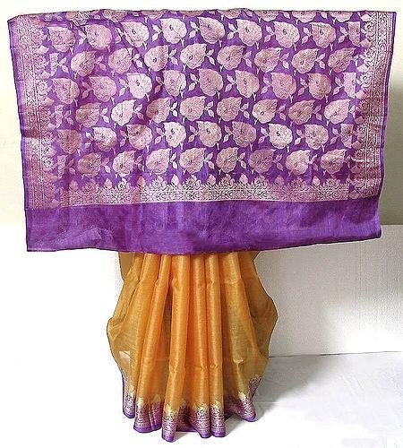 Orange Tussar Silk Saree with Light Purple Border and Pallu with Weaved Silver Work