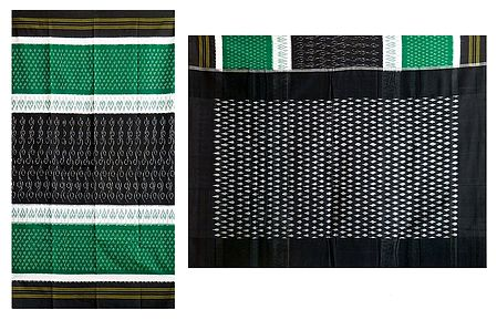 Ikkat Design on Green, White and Black Cotton Saree with Border and Pallu