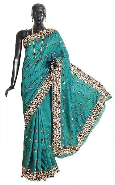 Persian Green Tussar Silk Saree with Parsi Embroidery on Light Cream Border and Pallu
