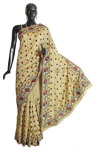 Beige Tussar Silk Saree with Parsi Embroidery on Light Cream Border and Pallu