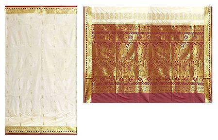 Off-White Poly Silk Sari with Gorgeous Pallu and All-Over Zari Boota