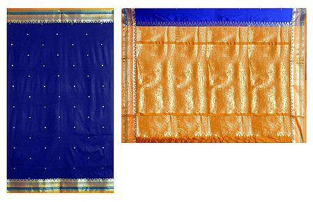 Royal Blue Poly Silk Sari with Gorgeous Pallu and All-Over Zari Boota