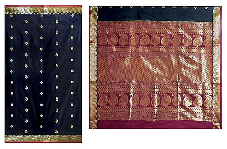 Black Poly Silk Sari with Gorgeous Pallu and All-Over Zari Boota
