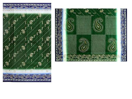Yellow Paisley Print on Green Cotton Saree with Blue Border