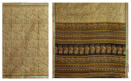Printed Cotton Saree with Striped Border