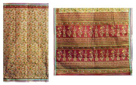 Printed Beige Cotton Saree with Churi Border