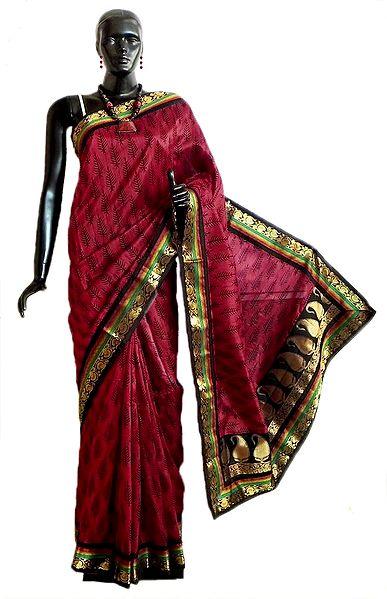 Black Print on Red Tussar Silk Saree with Zari Border and Pallu