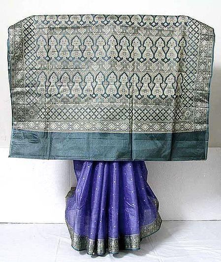 Purple Banarasi Silk Tussar Saree