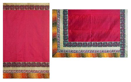 Red Cotton Silk Kota Saree with Madhubani Print Border and Ikkat Pallu