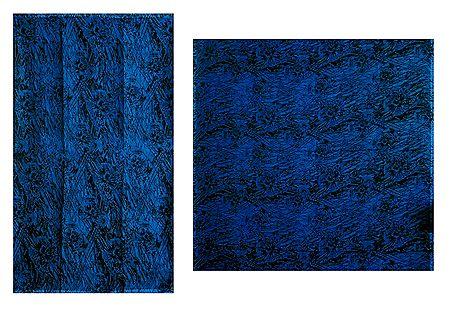 Printed Blue Chiffon Saree