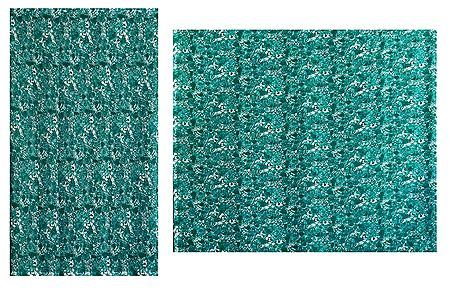 Printed Cyan Green Synthetic Saree