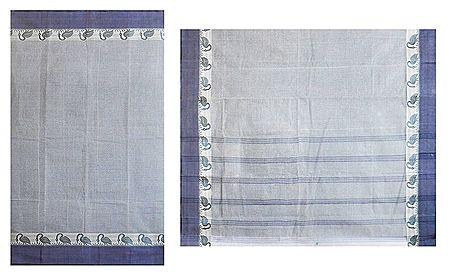 Grey Striped Cotton Tant Saree