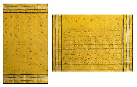 Yellow Cotton Tant Saree with Embroidery