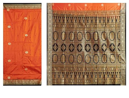 Burnt Orange Bomkai Orissa Silk Saree with All-Over Boota with Border and Gorgeous Pallu
