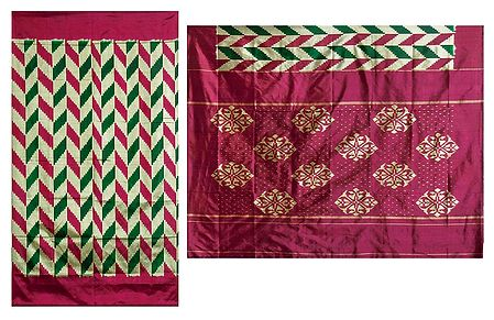 All-Over Ikkat Design on Silk Saree with Maroon Border and Pallu