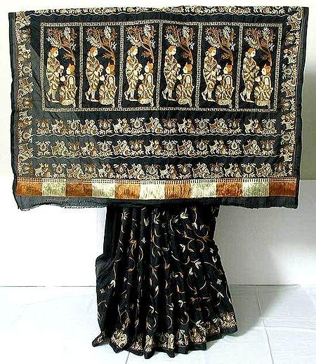 Silk Saree - Ari Stitch Embroidery