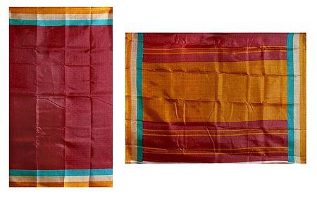 Red Bhagalpuri Silk Saree with Stripe Border