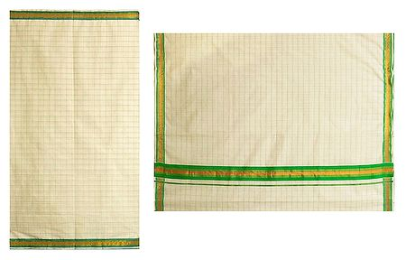 White Kerala Cotton Saree with Green Check and Border