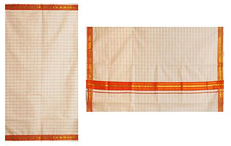 White Kerala Cotton Saree with Saffron Check and Border