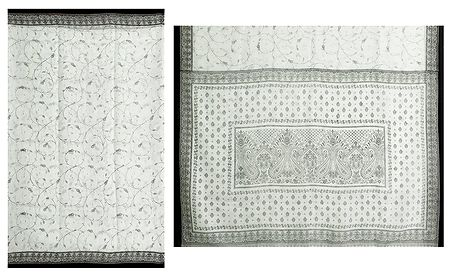 White Synthetic Saree with Black Print