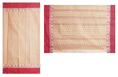 Red Boota on Light Brown Tangail Saree with Red Border and Pallu