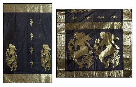 Black Tangail Saree with Golden Mermaid Design