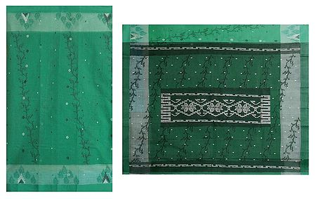 Cyan Green Tangail Saree with All Over Design