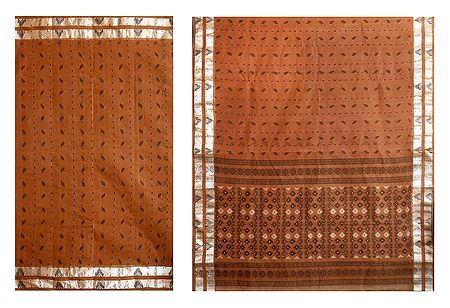 Brown Cotton Tangail Saree with All Over Boota from Bengal