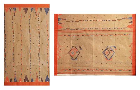 Weaved Design on Beige Cotton Tangail Saree for Women