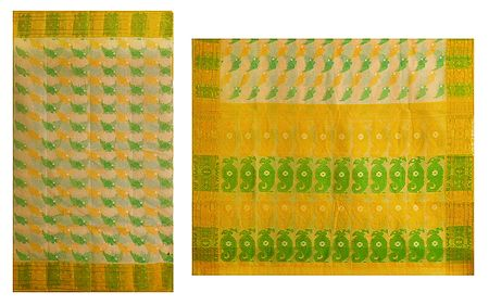 Green Weaved Design on Yellow Cotton Tangail Saree for Women