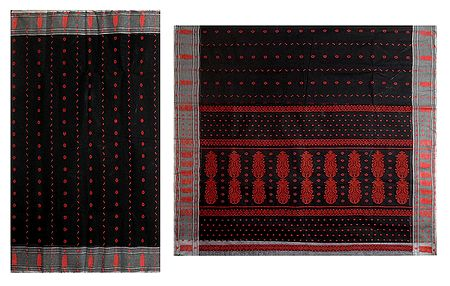 Red Weaved Design on Black Cotton Tangail Saree for Women