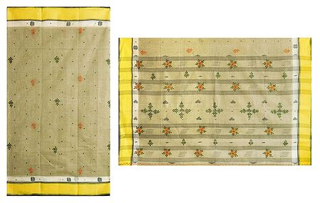 Embroidered Tangail Saree with Yellow Border