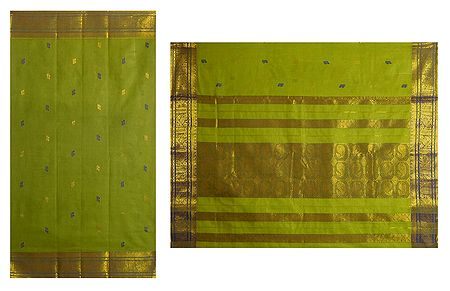 Green Tangail Saree with All-Over Boota and Zari Border