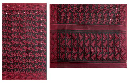 Red Boota on Black Tangail Saree with Border and Pallu