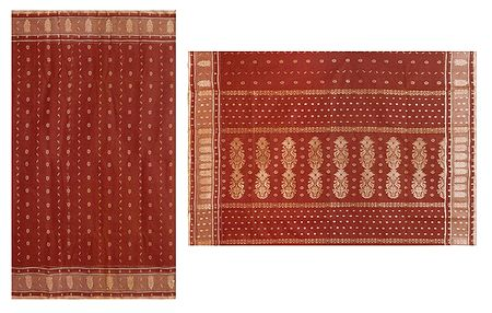 Brick Red Tangail Saree with All-Over Boota