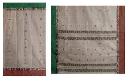 Sandalwood Color Tangail Saree with All-Over Boota