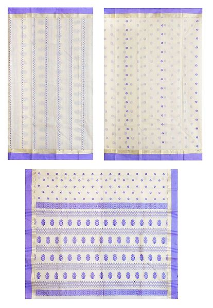 White Tangail Half and Half Saree with All Over Boota