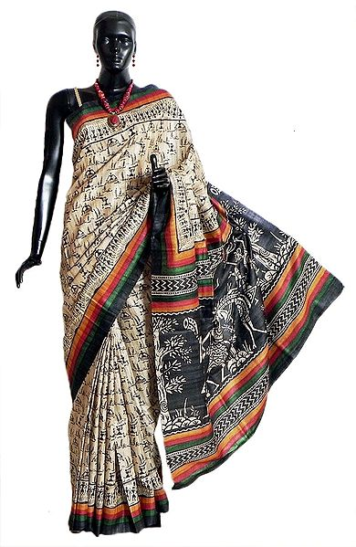 Light Beige Tussar Silk Saree with Black Warli Print All-Over