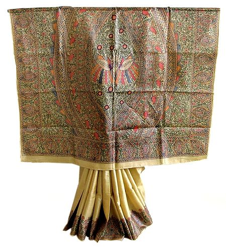 Tussar Silk Saree with Madhubani Painting Border and Pallu