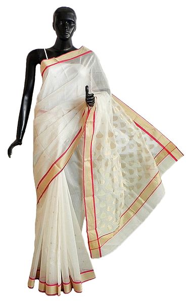 All-Over Golden Zari Boota on White Chanderi Saree with Zari Border and Pallu