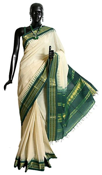 White Cotton Gadwal Saree with Green and Golden Zari Border and Pallu