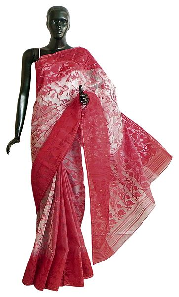 White Cotton Dhakai Jamdani Saree with Red Weaved Design All-Over