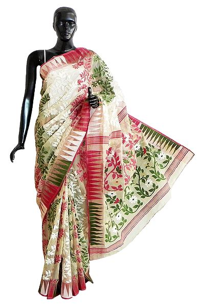 Off-White Dhakai Jamdani Saree with Red, Green and Zari Weaved Design All-Over