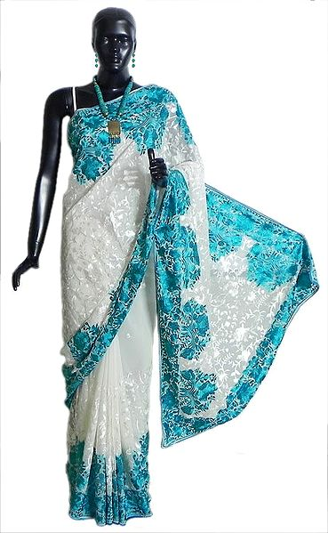 White Georgette Saree with Parsi Embroidery