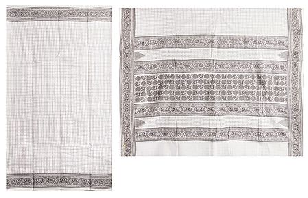 Off-White Bengal Tant Saree with All-Over Boota and Check