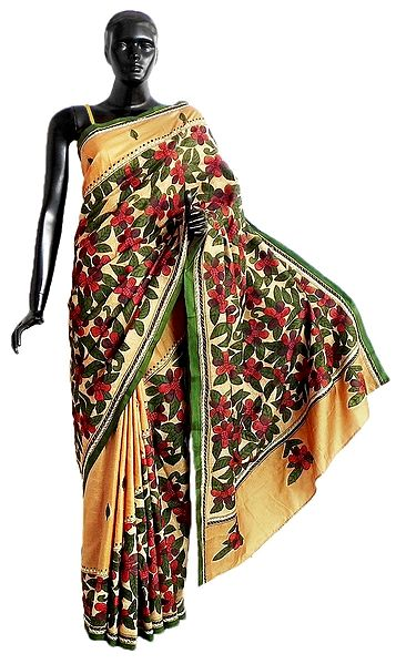 Kantha Stitch on Yellow Pure Silk Saree with Gorgeous Border and Pallu