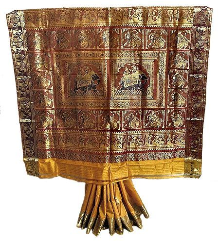Yellow Swarnachari Saree with Golden Zari Border and Pallu Depicting Royal Elephants and Folk Dancers