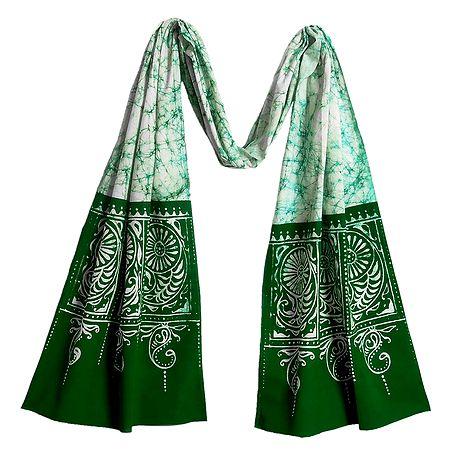 White with Green Cotton Batik Scarf