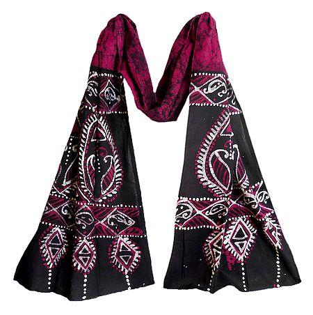 Black and White Batik on Kumkum Red Cotton Scarf